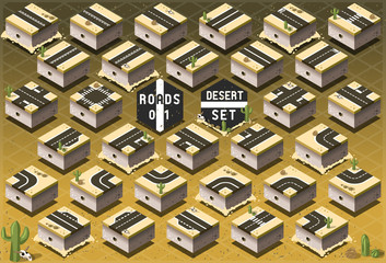 Isometric Roads on Desert Terrain
