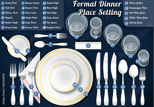 Set of Place Setting Formal Dinner Vector Placemat - 65366859