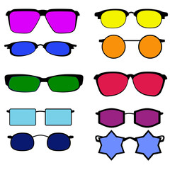 Glasses with different colored lenses on white background.