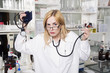 Expressive woman medical student in laboratory