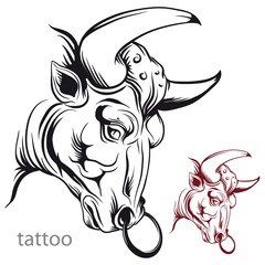 Bull's head. Tattoo