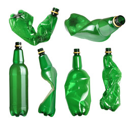 Collection of green plastic bottles isolated on white