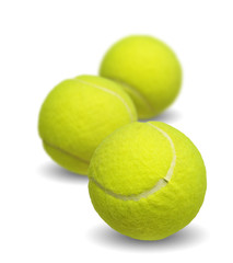 Tennis ball collection isolated on white background