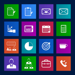 Metro style Business and office icons set.Vector eps 10