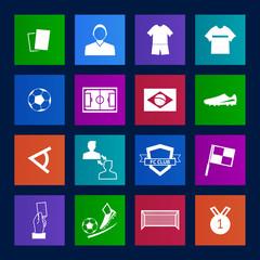 Metro style Soccer football icons vector eps10