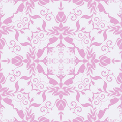 Seamless vector pattern tracery pink