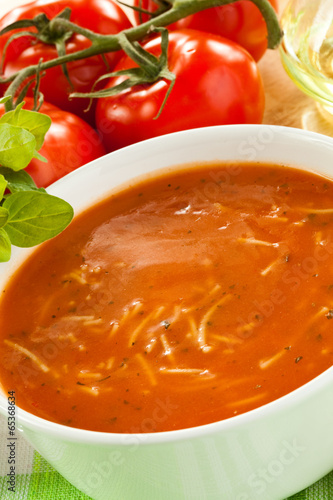 Tomato soup with ingredients
