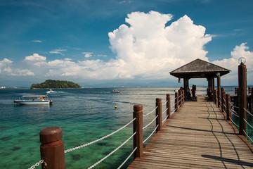 Jetty on Manukan island near Borneo. Sabah. Malaysia.