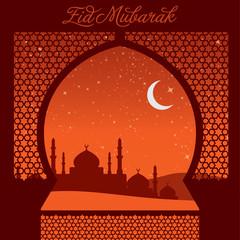 "Window ""Eid Mubarak"" (Blessed Eid) card in vector format."