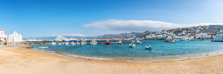 Panoramic view of old harbour in Mykonos town