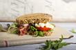 Leinwanddruck Bild - Sandwich mit Bacon, Tomate und Mozzarella