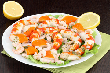 White dish with seafood