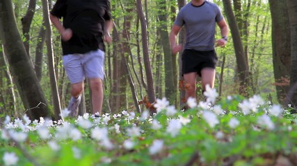 Father and Son running in the forest