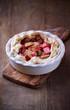 Rhubarb Quiche in a Ceramic Dish