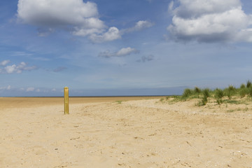 Deserted Beach with solitary wooden post