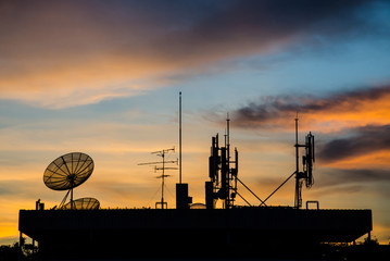 Satellite dish and Telecom tower