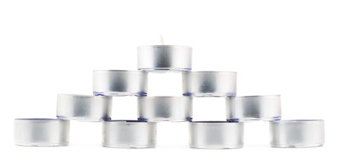 Pyramid of tea light candles