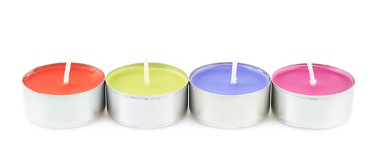 Row of four tea light candles