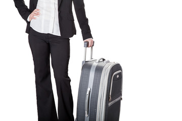 girl with baggage, isolated white background