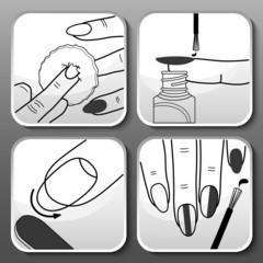 Vector balck manicure icons