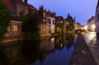 Bruges, canal at blue hour