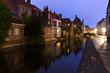 Bruges, canal at blue hour