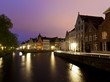 Bruges, canals after sunset