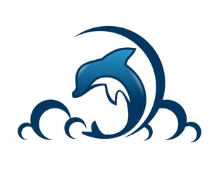 Dolphin logo symbol icon jump action