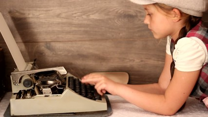 girl typing on a typewriter, retro styling, close-up