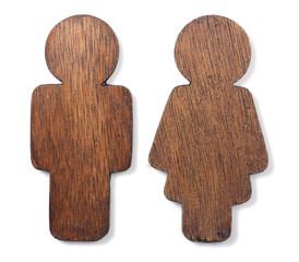 Wooden Gender Icon on White background