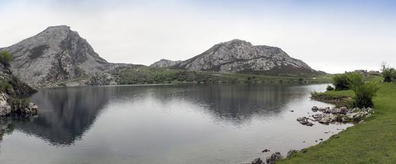 Panoramic of the Enol lake, national park Asturias, Spain