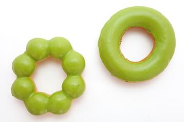macha green tea sweet donut on white background