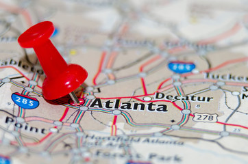 atlanta georgia city pin on the map