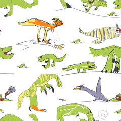 Children's Like Drawing Dino Seamless Pattern