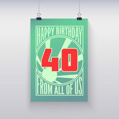 Vintage retro poster. Happy birthday.