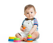 kid boy playing with toy isolated on white background