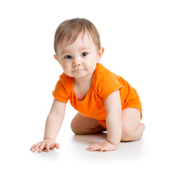cute crawling baby boy isolated on white background