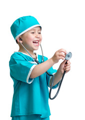 Adorable child boy uniformed as doctor isolated on white backgro