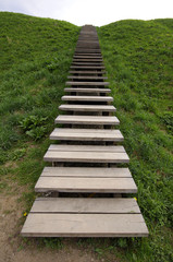 The wooden ladder is located a hill slope