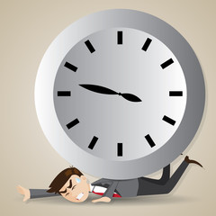 cartoon businessman with big clock over his back