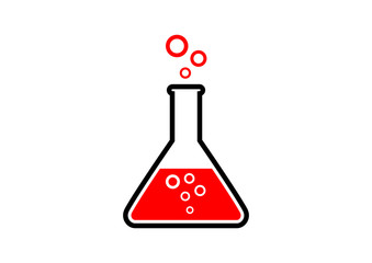 Laboratory glass on white background