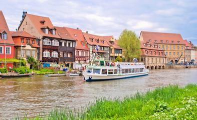 Klein-Venedig in Altststadt von Bamberg, Häuser an der Regnitz