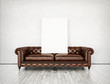 antique sofa and blank poster