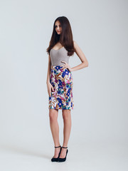 Girl in beautiful skirt. Catalogue shoot. vogue