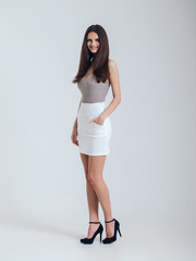 Girl in beautiful skirt. Catalogue shoot. Style