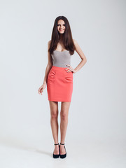Girl in beautiful skirt. Catalogue shoot. smile
