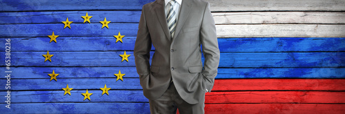 canvas print picture Business between Russia and European Union