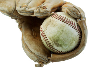 Old Baseball and worn Glove isolated on white