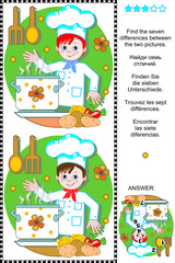 Find the differences visual puzzle - young chef