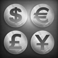 Set of round icons with money signs on grey, vector illustration